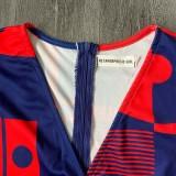 Herbst Rot Geometrischer Print Puffärmel Wrap Loser Jumpsuit mit Gürtel