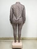 Conjunto de blusa casual con estampado de tallas grandes de otoño y pantalones a juego
