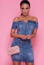 Zomer off-shoulder denim jeans mini-jurk met rits