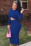 Otoño Elegante Recorte Fruncido Midi Vestido Ajustado Azul