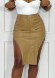 Falda de cuero irregular de cintura alta de color caqui de invierno