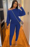 Conjunto de pantalón y camisa de manga abullonada azul casual de otoño