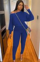 Herbst-lässiges blaues Puffärmel-Hemd und Hosen-Set