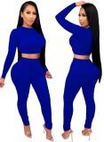Conjunto de pantalón y top corto ajustado sexy de fiesta de otoño azul