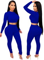 Autumn Party Sexy Tight Crop Top and Pants Set Blue