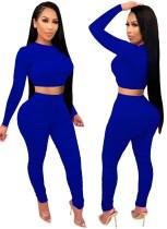 Herbstparty Sexy Enges Crop Top und Hosen Set Blau