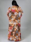 Vestido largo cruzado con estampado de otoño y cinturón