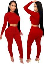 Herbstparty Sexy Enges Crop Top und Hosen Set Rot