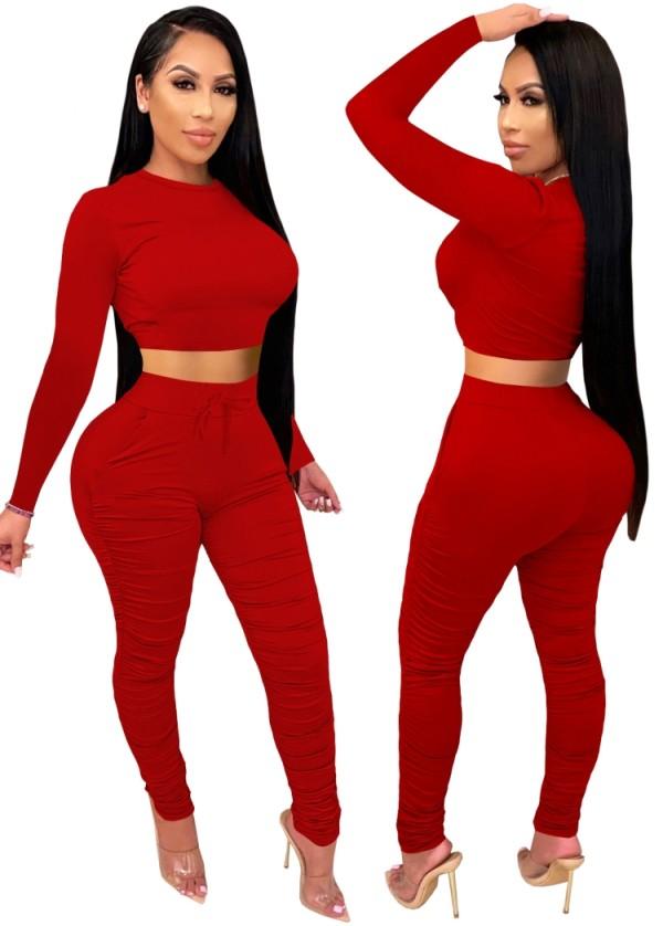 Conjunto de pantalones y top corto ajustado sexy de fiesta de otoño rojo