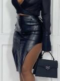 Falda de cuero irregular de cintura alta negra de invierno