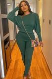 Conjunto de pantalones y camisa de manga abullonada verde casual de otoño