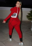 Conjunto de pantalones y top corto ajustado sexy con estampado de otoño rojo