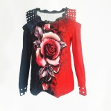 Camisa floral con cuello en V con hombros descubiertos y tallas grandes de otoño