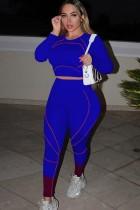 Herfst print sexy strakke crop top en broek set blauw