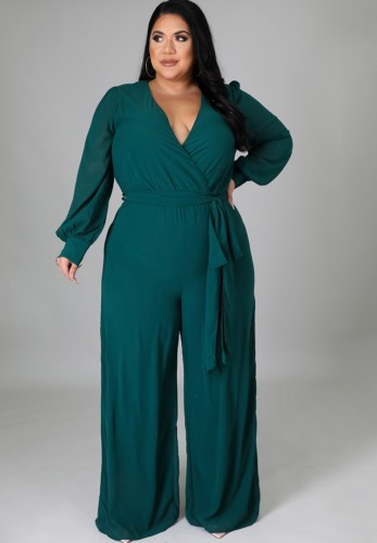 Macacão Outono Plus Size Elegante Envoltório Verde