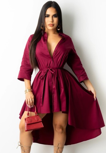 Autumn Burgunry High Low Blouse Dress