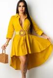 Vestido de blusa alta baja amarillo de otoño
