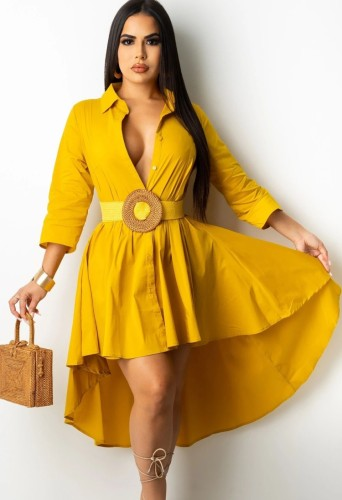 Autumn Yellow High Low Blouse Dress