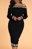 Vestido midi negro con hombros descubiertos y estampado de otoño