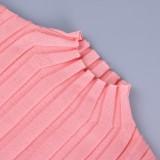 Traje de pantalón y top de punto rosa elegante de invierno