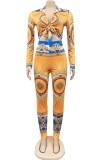 Conjunto de blusa y pantalón con nudo retro con estampado otoñal