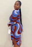Conjunto de falda midi y top corto con estampado Autumn Plus Size