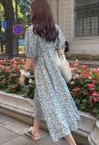 Vestido maxi largo con cuello en O floral romántico de otoño