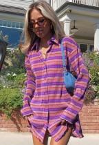 Herfst casual strepen gebreide paarse blousejurk