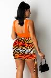 Conjunto de falda de cebra y top corto naranja sexy de verano