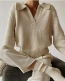 Suéter con cuello en V y cuello vuelto de invierno Top Caqui