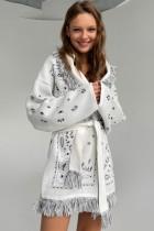 Winter Print Boho Fringe White Jacket with Belt