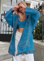 Winter-Print Boho Fringe Blaue Jacke mit Gürtel