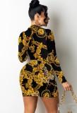 Mini vestido ajustado con cuello en V retro con estampado de otoño
