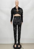 Conjunto de pantalón y top corto fruncido de cuero negro de invierno