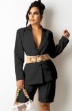Otoño negro elegante conjunto de chaqueta y pantalones cortos