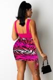 Summer Sexy Rose Crop Top y conjunto de falda de cebra