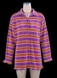Vestido de blusa púrpura de punto de rayas casuales de otoño
