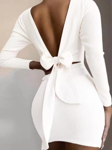 Autumn White V-Back Tied Knit Mini Dress