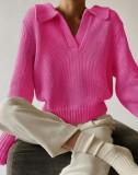 Suéter con cuello en V y cuello vuelto de invierno Top Rose