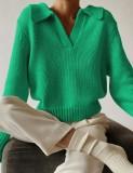 Top de suéter con cuello en V y cuello vuelto de invierno verde