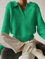 Winter Umlegekragen V-Ausschnitt Pullover Top Grün
