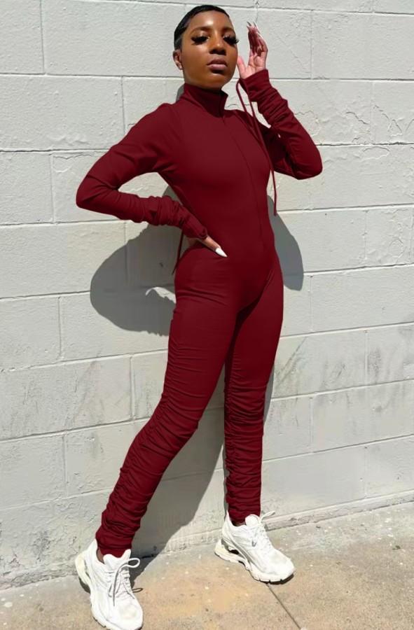 Otoño sexy rojo cremallera hasta la pila bodycon mono