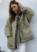 Winter Green Button Up Long Jacket