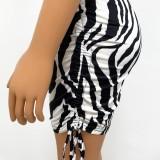 Conjunto de falda de cebra y top corto negro sexy de verano