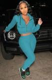 Otoño azul sudaderas con capucha con cremallera manga larga Crop Top y conjunto de pantalón