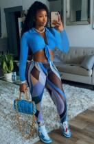 Herfstblauwe geknoopte crop top en legging met print
