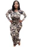 Vestido ajustado a media pierna sexy con estampado de leopardo de otoño