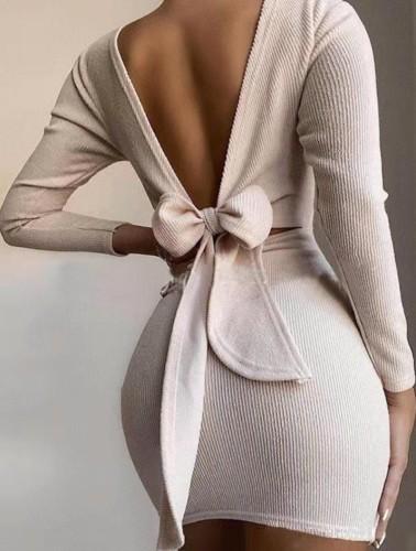 Autumn Beige V-Back Tied Knit Mini Dress