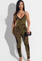 Summer Party Gold Beaded Halter Bodycon Jumpsuit