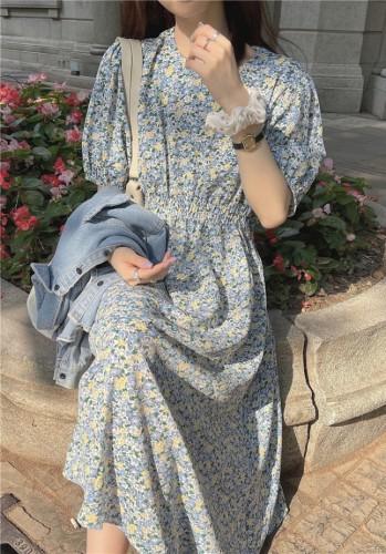Autumn Romantic Floral O-Neck Long Maxi Dress